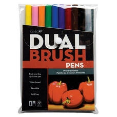 Primary Color Tombow Dual Brush Pens/Markers with Nylon Brush Tip and Hard Nylon Fine Tip - Set of 10