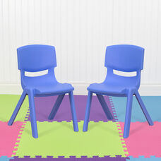 """2 Pack Blue Plastic Stackable School Chair with 12"""" Seat Height"""