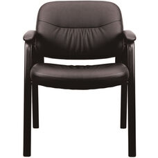 Essentials Leather Executive Side Chair with Padded Arms - Black