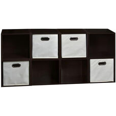 Niche Cubo Wooden Storage Case - Set of 8 Cubes and 4 Canvas Bins - Truffle