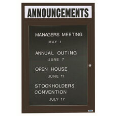 1 Door Indoor Enclosed Directory Board with Header and Bronze Anodized Aluminum Frame - 48