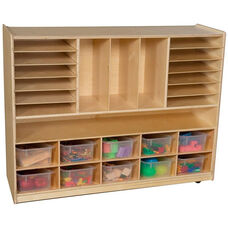 Wooden Mobile Multi-Storage Unit with 10 Clear Plastic Storage Trays - 48
