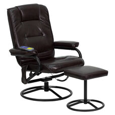 Massaging Multi-Position Recliner and Ottoman with Metal Bases in Brown LeatherSoft