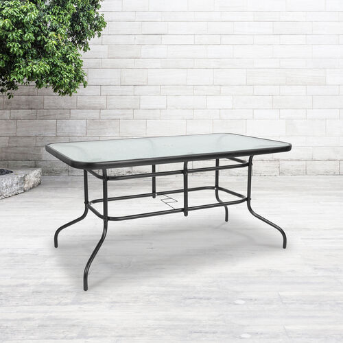 "Our 31.5"" x 55"" Rectangular Tempered Glass Metal Table is on sale now."