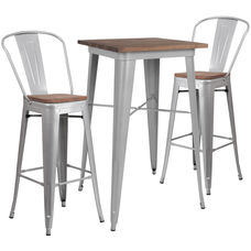 """23.5"""" Square Silver Metal Bar Table Set with Wood Top and 2 Stools"""