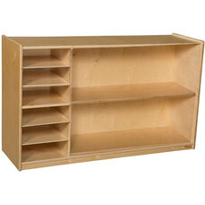Wooden Mobile Two Shelf Storage Unit with 6 Letter Compartments - 48