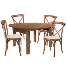 "HERCULES Series 60"" Round Solid Pine Folding Farm Dining Table Set with 4 Cross Back Chairs and Cushions"