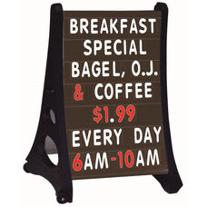 Roll A-Frame Double Sided Sidewalk Sign with Black Letterboard - 36