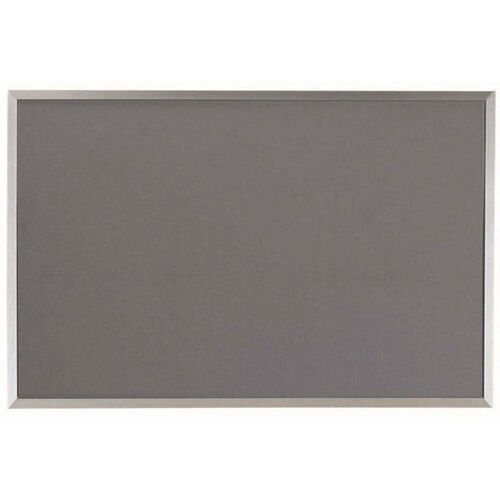 Designer Fabric Bulletin Board with Clear Satin Anodized Aluminum Frame - Gray - 24