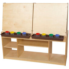 Four Person Wooden Art Center with 4 Brown Trays and 16 Paint Cups - 48