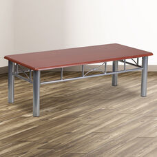 Mahogany Laminate Coffee Table with Silver Steel Frame