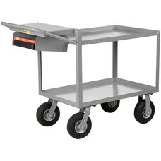 Instrument Cart With 2 Steel Shelves And Storage Pocket with Writing Shelf - 48