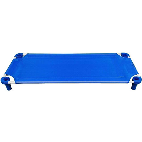 Blue Toddler Sized Cot with Steel Frame and Polypropylene Legs - Assembled - 40