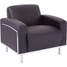 OSP Furniture Bonded Leather Club Chair with Chrome Accents - Black