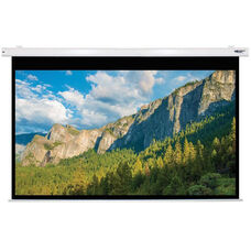 White Wall Mountable Electric Projection Screen with Matte White Fabric Screen and White Powder-Coated Aluminum Housing - 102