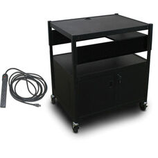 Spartan Series Adjustable Media Projector Cart and Cabinet with One Pull-Out Side-Shelf and Eight Outlet Electrical Unit - Black