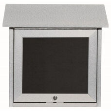 Light Gray Slimline Series Top Hinged Single Door Plastic Lumber Message Center with Letter Board - 18