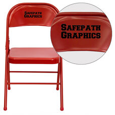 Personalized HERCULES Series Triple Braced & Double Hinged Red Metal Folding Chair