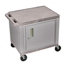 Gray Tuffy Plastic Cart with Cabinet and Nickel Legs