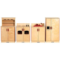 Birch Hardwood 4 Piece Full Play Kitchen Station Set - Fully Assembled