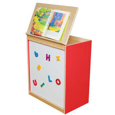 Strawberry Red Big Book Display and Storage with Locking Piano Hinged Top with Magnetic Marker Board on Front - Assembled - 24