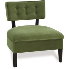 Ave Six Curves Velvet Button Armless Accent Chair with Solid Wood Legs - Spring Green