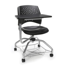 Foresee Series Tablet Stars Student Chair with Removable Vinyl Seat Cushion - Black
