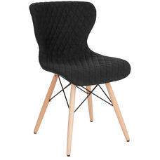 Riverside Contemporary Upholstered Chair with Wooden Legs in Black Fabric