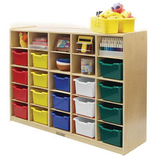 Birch 25 Cubby Tray Cabinet with 25 Assorted Colors Bins - 48