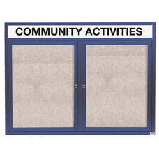 2 Door Outdoor Enclosed Bulletin Board with Header and Blue Powder Coated Aluminum Frame - 36