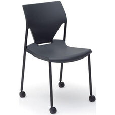 Arriva Four Leg Stacking Chair with Casters - Black Shell with Black Frame