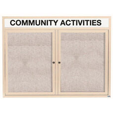 2 Door Outdoor Enclosed Bulletin Board with Header and Ivory Powder Coated Aluminum Frame - 36