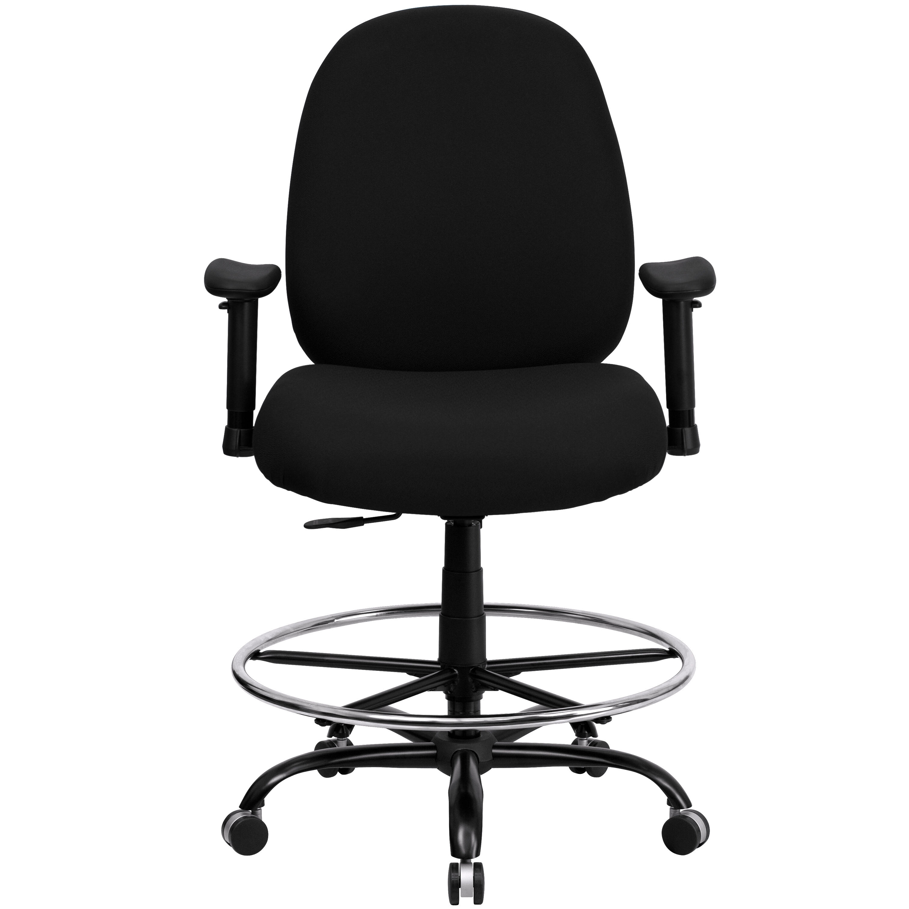 Rated Black Fabric Drafting Chair With Adjustable