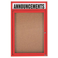 1 Door Indoor Illuminated Enclosed Bulletin Board with Header and Red Powder Coated Aluminum Frame - 36