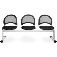 Moon 3-Beam Seating with 3 Fabric Seats - Black
