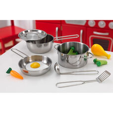 Kids Make-Believe Deluxe Metal Cookware and Wooden Food Play Set
