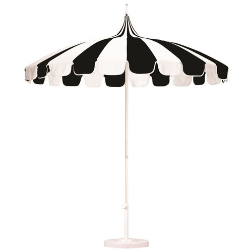 Our 8.5Ft. Pagoda Style Umbrella with Push Lift and Single Wind Vent - White Aluminum Pole is on sale now.