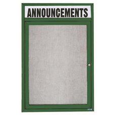 1 Door Outdoor Illuminated Enclosed Bulletin Board with Header and Green Powder Coated Aluminum Frame - 24