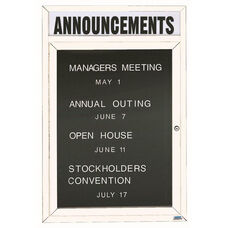1 Door Outdoor Enclosed Directory Board with Header and White Anodized Aluminum Frame - 48