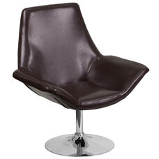 HERCULES Sabrina Series Brown Leather Side Reception Chair
