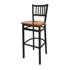 Troy Metal Slat Back Barstool - Cherry Wood Seat
