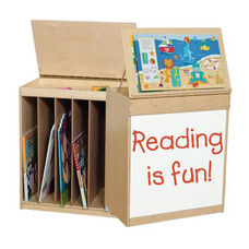 Big Book Display and Storage with Locking Piano Hinged Top - Assembled - 24
