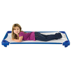 Blue Ready to Assemble Standard Stackable Kiddie Cots with Sheets - 52