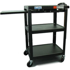 Black Height Adjustable AV Media Cart with Three Stationary Shelves and One Pull-Out Shelf - 24