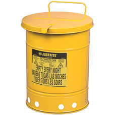10 Gallon Steel Hand-Operated Oily Waste Can - Yellow