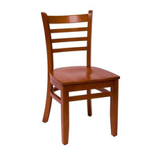 Burlington Cherry Wood Ladder Back Chair - Wood Seat