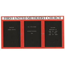 3 Door Outdoor Illuminated Enclosed Directory Board with Header and Red Anodized Aluminum Frame - 36