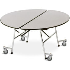 ADA Compliant Fold-N-Roll Round Laminate Cafeteria Table with Casters - 72