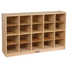 Birch 20 Cubby Tray Cabinet with 20 Sand Colored Bins - 48