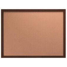 Architectural High Performance Natural Pebble Grain Cork Bulletin Board with Walnut Wood Grain Aluminum Trim - 36